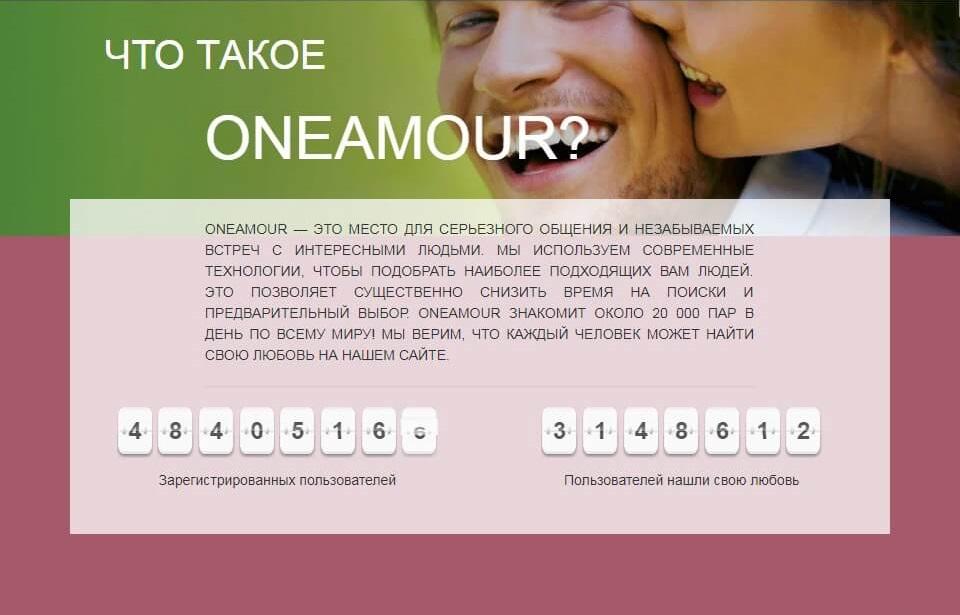 Популярность сайта знакомств Oneamour.com