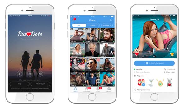 Мобильное приложение сайта знакомств RusDate